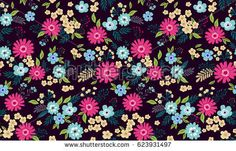 Vector seamless pattern. Cute pattern in small flower. Small multicolored flowers. Black background. Ditsy floral background. The elegant the template for fashion prints