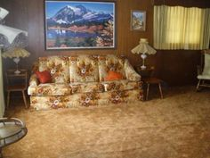 ugly sofa couch lamps wood paneling old furniture carpet Phoenix home house
