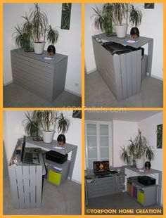 Pallet fold-up office.