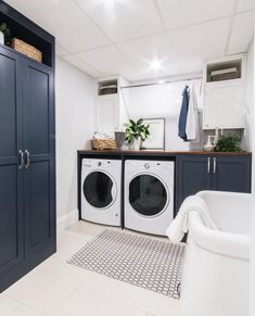 The laundry used to be shoved in a closet upstairs at our #leclairhalifaxproject . Our clients wanted more space to hang clothes, keep laundry products and most importantly, have a sink! We renovated this room in their large basement with all new cabinetry, a classic white subway tile and a stained wood counter.