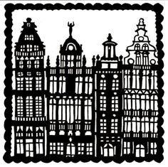 Baroque houses - ORIGINAL PAPERCUT (17 X 17cm) $47.00 @Vegaslammy