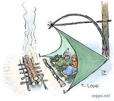 Talviretkeily – loue ja rakovalkea, keywords: talviretkeily yöpyminen majoitus majoite loue rakovalkea leirituli makuupussi nukkuminen lumi piirros