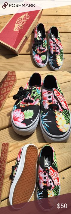 Brand new floral vans Hawaiian floral print vans. Brand new with the tags and the box.  Women's size 7.5 Vans Shoes Sneakers