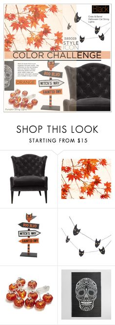 """""""Color Challenge: Orange and Black"""" by sasooza ❤ liked on Polyvore featuring interior, interiors, interior design, home, home decor, interior decorating, WALL, Crate and Barrel, Sur La Table and Cost Plus World Market"""
