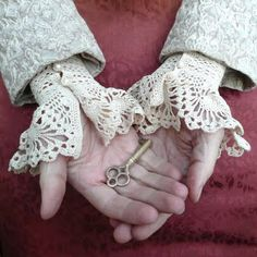 Romantic Lace Crochet Cuffs Ecru White Cotton Pearls by twoknit Crochet Motifs, Hand Crochet, Crochet Lace, Crochet Patterns, Lace Cuffs, Crochet Gloves, Wrist Warmers, Romantic Lace, Collar And Cuff