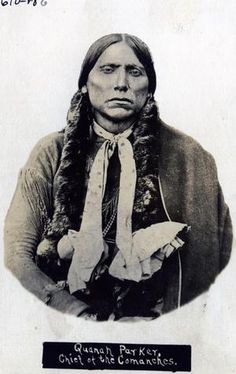 Portrait photograph of Comanche Chief Quanah Parker. This version is from the Oklahoma Historical Society Photography Collection. The creator is listed as unknown but the photographer was actually W.G. Irwin.