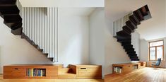Amazing modern staircase designs, including open sided staircases, floating staircase designs, modern spiral staircases, plus bespoke spinals and banisters. Interior Staircase, Home Stairs Design, Staircase Railings, Modern Staircase, House Design, Staircases, Stair Design, Modern Prefab Homes, Floating Staircase
