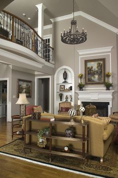 vaulted ceiling family room colors for 2014   Vaulted Family Room with Balcony - traditional - living room - other ...