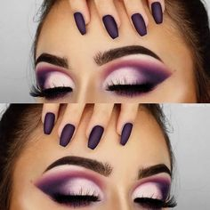 flawless makeup looks is part of wedding-makeup - flawless makeup looks eyes brows eyelashes nails purple flawless makeup looks eyes brows eyelashes nails purple Cute Makeup, Glam Makeup, Makeup Inspo, Eyeshadow Makeup, Makeup Inspiration, Hair Makeup, White Eyeshadow, Makeup Geek, Beauty Makeup