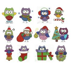 Christmas Owls Filled Machine Embroidery Designs | Designs by JuJu