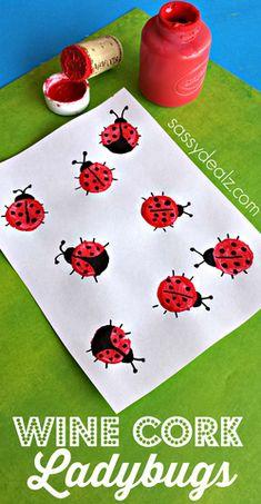 Wine Cork Ladybugs: Easy Spring Crafts for Kids. Wine Cork Ladybugs: Easy Spring Crafts for Kids. Spring Art Projects, Spring Crafts For Kids, Easy Art Projects, Summer Crafts, Projects For Kids, Art For Kids, Preschool Crafts, Fun Crafts, Arts And Crafts