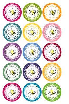 1 Inch Circles Editable PDF Delicate Lace by printcandee Bottle Cap Art, Bottle Cap Crafts, Bottle Cap Images, Canning Labels, Jar Labels, Circle Labels, Round Labels, Printable Labels, Free Printables