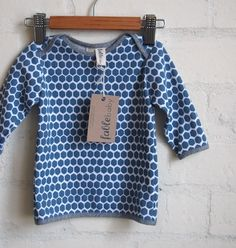 Long Sleeve Top  Blue Honeycomb on White by fablebaby on Etsy, $49.00