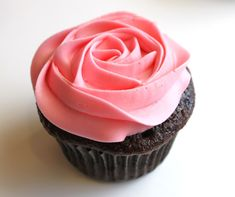 Chocolate Cupcake with Pretty Strawberry Pink Icing.....