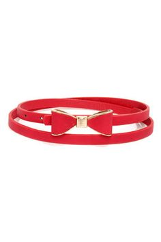 Good to Bow Red Bow Skinny Belt at LuLus.com! $11.00