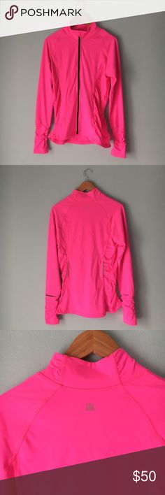 Victoria's Secret sport zip-up jacket In new condition, Victoria's Secret VSX SPORT size large hot pink zip-up jacket complete with pockets and thumb holes. Leave an offer! Victoria's Secret Tops