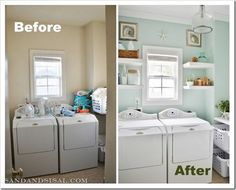 laundry room makeover before and after - love the paint colour. Post also has tips on how to get kids involved in helping with the laundry, using a clever sorting station set-up.