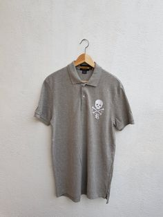 3918e173696 Vintage 90s Polo RUGBY Ralph Lauren FCR Skull And Bones Embroidered Polos  Mens Shirt Size M