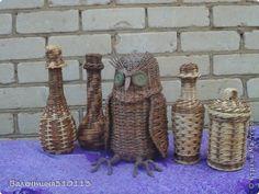 Поделка изделие Плетение Оплетённые бутылки корзинки сова и туесок Бумага газетная фото 1