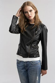 Faux leather moto jacket by Velvet-great solution for those of us not wanting to wear leather. Stylish and functional!