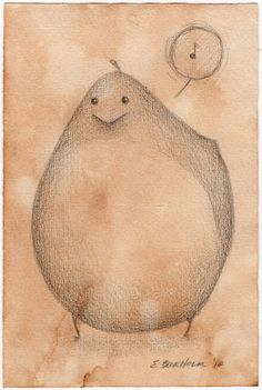 Chubby Bird - Sweet Tweet  Original Drawing by TorpidPorpoise, $18.00
