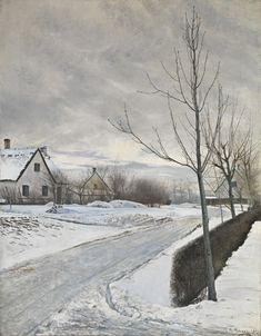 National Gallery: Laurits Andersen Ring's 'Road in the Village of Baldersbrønde (Winter Day)' was the first-ever . Danish Culture, National Gallery, World Of Interiors, Daily Pictures, Winter Art, Winter Ideas, Winter Scenes, Sculpture, Landscape Paintings