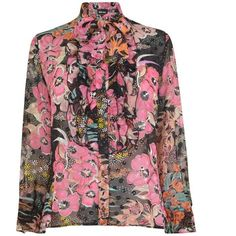 Just Cavalli Floral Pussybow Blouse ($450) ❤ liked on Polyvore featuring tops, blouses, black, sheer top, button up blouse, transparent blouse, button-down blouses and pussy bow blouses