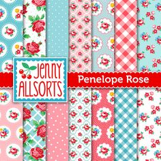 Shabby Chic Digital Paper Penelope Rose - Pink and Aqua  - for invites, card making, digital scrapbooking via Etsy