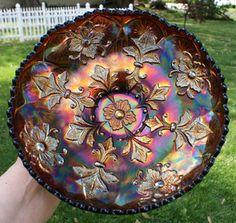 Millersburg Fleur de Lis ice cream shaped carnival glass bowl.