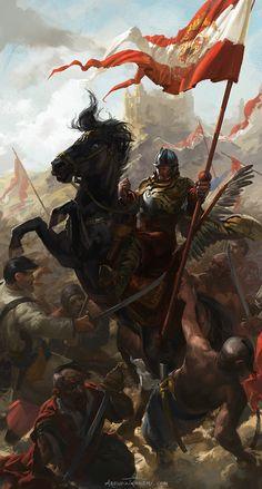Polish Winged Hussar Bannerman, Piotr Arendzikowski on ArtStation at https://www.artstation.com/artwork/polish-winged-hussar-bannerman
