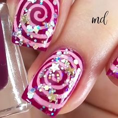 Give yourself a pretty manicure with these ideas 💅 Cute Nail Polish, Cute Nail Art, Nail Art Diy, Diy Nails, Cute Nails, Pretty Nails, New Nail Art Design, Fall Nail Art Designs, Nail Art Designs Videos