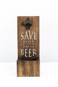 save water drink beer bottle opener gifts for him man cave decor ss- Diy Bottle Opener, Wall Mounted Bottle Opener, Beer Bottle Opener, Beer Bottles, Jack Daniels Lampe, Diy Gifts For Him, Diy Wood Signs, Beer Signs, Decoration