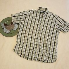 Mens Club Room Short Sleeve Plaid Button Front Shirt Size Large - XL | eBay Shopping