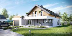 HomeKONCEPT-01 to atrakcyjny dom jednorodzinny o prostej bryle, przykryty dachem dwuspadowym. Na szczególną uwagę zasługuje unikalne belkowanie zdobiące budynek od strony frontowej i ogrodu.