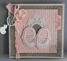 Card by DT member Neline with among others Creatables My First Shoes (LR0303) and Collectables Tab with Text (COL1315) by Marianne Design