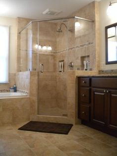 Bathroom Ideas love the corner shower; as long as it is his and hers sinks and a bigger bathtub