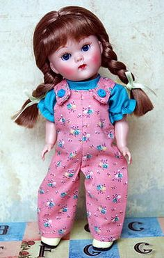 "~JuST GiNNy~ a sweet overalls and shirt set for 7.5"" Vogue Ginny Dolls. Click the pix to see where you can purchase it ♥"