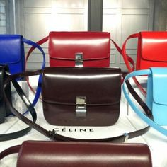 Free Shipping !Cheap 2015 Celine Bags Outlet-Celine Classic Bag in Chocolate Slick-surfaced Leather