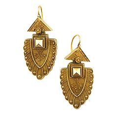 Etruscan Revival Triangle & Fan Drop Earrings  measuring 37mm long by 20mm wide. Fashioned in 10k yellow gold. Ear Wires.  $2100