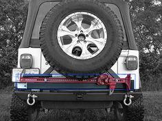 Rock Hard 4x4™ Patriot Series Rear Bumper with Tire Carrier for Jeep Wrangler TJ, LJ, YJ and CJ 1976 - 2006 [RH-2001-C] 2001 Jeep Wrangler, Jeep Tj, Hi Lift Jack Mount, Jeep Bumpers, House Paint Interior, House Painting, 4x4, Rock, Welding Projects