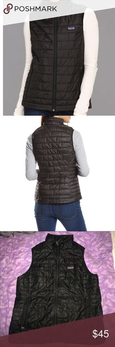 """XL Patagonia Nano Puff Vest This Patagonia vest is AMAZING! it's lightweight but keeps you warm, fits well over flannels, sweatshirts etc. There is the smallest pin hole """"tear"""" on the front but it's hard to locate because it's so small (reflected in price) I'm open to all fair offers! Patagonia Jackets & Coats Vests"""