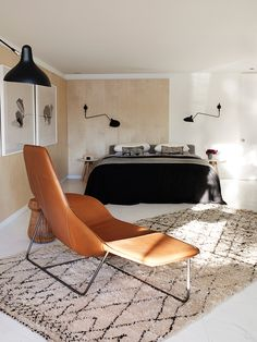 a perfect pair: Beni Ourain + carmel leather