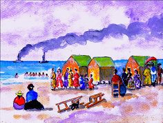 Victorian #seaside #scene by fred segal   beach, boats, sea, #bathing huts victor,  View more on the LINK: http://www.zeppy.io/product/gb/2/262833529935/