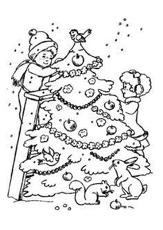Deux jeunes enfants entrain de décorer leur sapin sous la neige, dessin à colorier