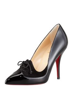 Queue de Pie Patent-Suede Red Sole Pump, Black by Christian Louboutin at Bergdorf Goodman.