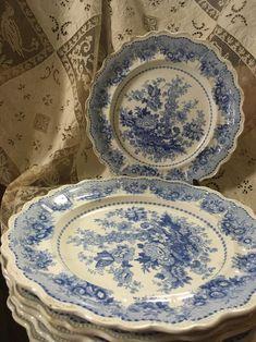 Antique Plates, Vintage Plates, Vintage Dishes, Vintage China, Antique China, Decorative Plates, Vintage Pyrex, Blue Dishes, White Dishes