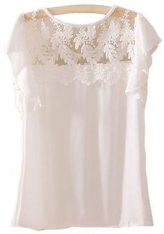 White Short Sleeve Lace Ruffles Chiffon Blouse...Ohhhh I like a lot! :)
