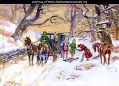 Holdup on the Boston Road - Charles Marion Russell - www.charlesmarionrussell.org