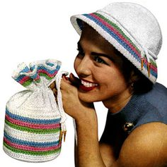 Candy Striped Hat & Bag crochet pattern from Handbags and Hats, originally published by American Thread Co, Star Book No. 97, in 1953.