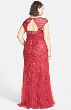 Adrianna Papell Cap Sleeve Sequined Gown (Plus Size) | Nordstrom